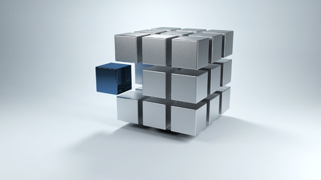 Floating 3D cube with sections in gray and one in blue that moves away from the whole
