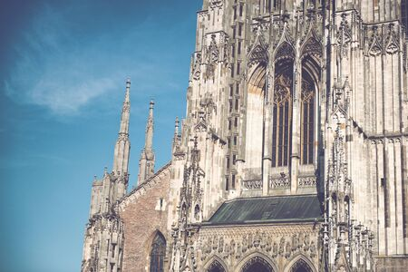 lutheran: Architectural Exterior Close Up of Gothic Facade of Ulm Minster Church, a Lutheran Church in Ulm, Germany and Popular Tourist Attraction with Tallest Steeple in the World