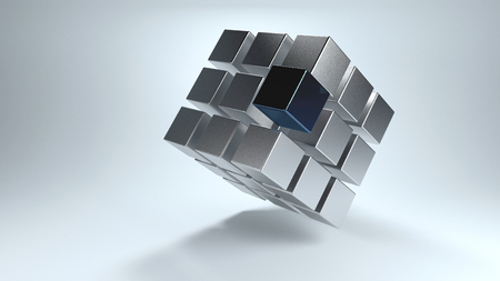 that: Tilted 3D cube with displaced sections in gray and darker one that moves away from the whole