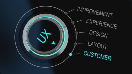 Marcar o mando de control Monitoreo de la experiencia del usuario impresa con las letras UX con canales de retroalimentación para la mejora etiquetados, experiencia, diseño, presentación y atención al cliente