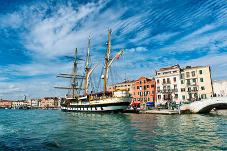 palinuro: View of the historic barquentine the Palinuro moored in Venice, Italy, now used as a training ship by the Italian navy