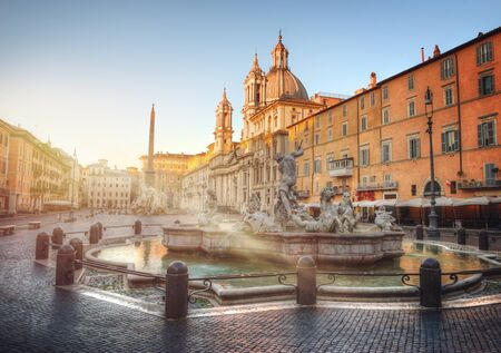 navona: Piazza Navona with the Neptune Fountain during sunrise, Rome, Italy