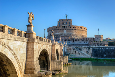 angelo: Saint Angel Castle (Castel Sant Angelo) and bridge over the Tiber river in Rome, Italy