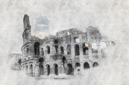 손으로 드로잉 또는 로마에서 콜로세움의 스케치