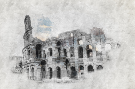 colosseum: Hand-drawing or sketch of the colosseum in Rome