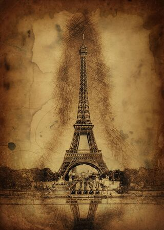 memento: Pencil Line Sketch of Historical Eiffel Tower with Shading and Reflection in Water Fountain on Aged Sepia Paper - Artistic Rendering of Eiffel Tower Landmark in Paris, France