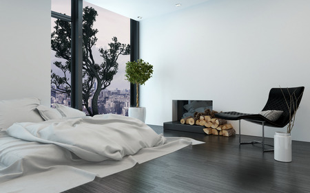 chimney corner: Contemporary apartment with unmade simple bed and bare white walls beside fireplace. 3d Rendering.