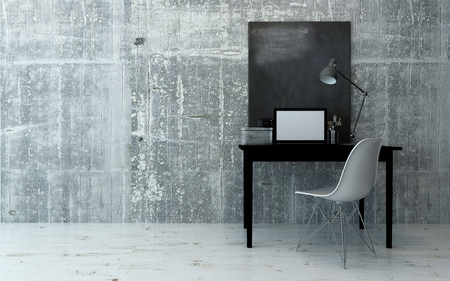 Black and white interior of desk and chair with simple computer monitor against a blank concrete wall. 3d Rendering.