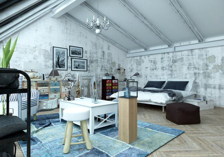 sitter: Modern loft bedroom with a trendy paint effect of grey abstract splashes and an eclectic collection of vintage and modern furniture in a bed sitter arrangement, 3d render