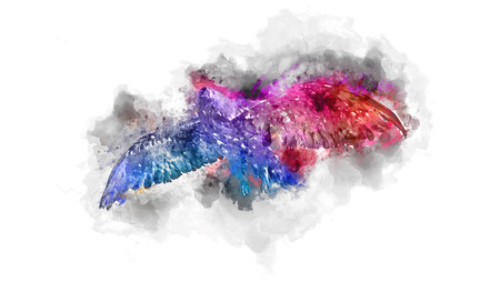 inventiveness: Colorful watercolor painting of an eagle in flight with a gradient splash effect of blue through purple to red on textured paper