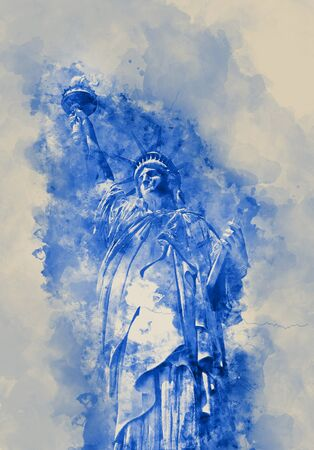 enlightening: Statue of Liberty, symbol of United States of America, in blue shades on watercolor spatters on paper Stock Photo