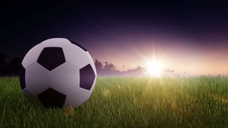 Digitally Generated Graphic of Black and White Soccer Foot Ball on Fresh Green Grass with Sun Rising in Purple Morning Sky with Copy Space