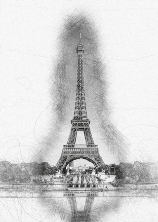 historical landmark: Pencil Line Sketch of Historical Eiffel Tower with Shading and Reflection in Water Fountain on White Paper - Artistic Rendering of Eiffel Tower Landmark in Paris, France Stock Photo