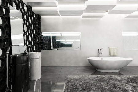 corner tub: Contemporary bath room with white walls, grey rug and black honeycomb decor. 3d Rendering. Stock Photo