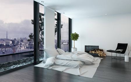 ambiance: Modern design apartment with messy bed beside floor to ceiling windows overlooking urban skyline. 3d Rendering.