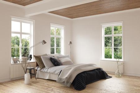 堅木張りの床と天井とクッションで快適なダブルベッドの周り両方の壁に窓の明るい近代的なベッドルームのインテリア。3 d レンダリング。