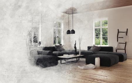 fumo grigio avvolgente scena vuoto soggiorno con divani componibili neri appesi lampade da soffitto. Rendering 3D.