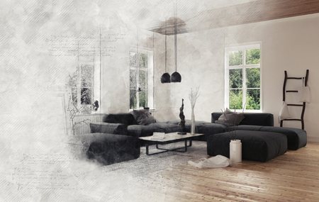 enveloping: Gray smoke enveloping empty living room scene with black modular sofas hanging ceiling lamps. 3d Rendering. Stock Photo