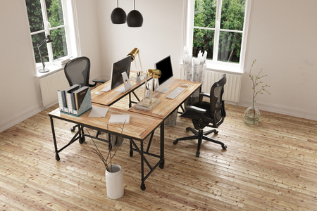 3D geef van lege ruimte met paar hedendaagse bureau en stoelen hardhouten vloer. 3D-rendering. Stockfoto