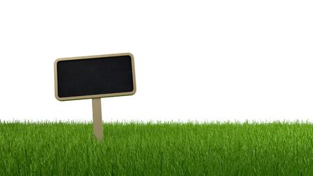 blank slate: Blank slate signboard on a lush grassy meadow or lawn isolated on a white background with copy space, banner panorama Stock Photo
