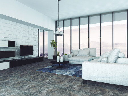 contemporary living room: Spacious contemporary living room with white sofas and floor to ceiling windows. 3d Rendering. Stock Photo