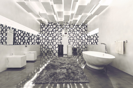 fixtures: Spacious white walled bathroom with grey rug and honeycomb decor besides luxury fixtures. 3d Rendering.