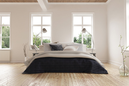 king size: Bright light modern minimalist bedroom interior with a king size bed below a rows of windows on a light colored parquet floor with white walls. 3d Rendering.