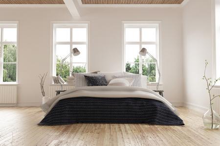Brillante luce moderna camera da letto minimalista tra con un letto king size di sotto di un file di finestre su un pavimento in parquet di luce colorata con pareti bianche. Rendering 3D.