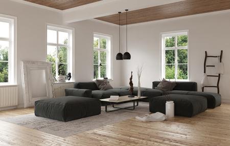 Basso angolo di vista sul vuoto soggiorno moderno con ampio divano modulare quadrata con finestre a battente e pavimento in legno. Rendering 3D.