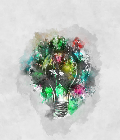 daubs: Abstract design painting of sparkling light bulb in green, yellow and blue surrounded by gray and white paint strokes