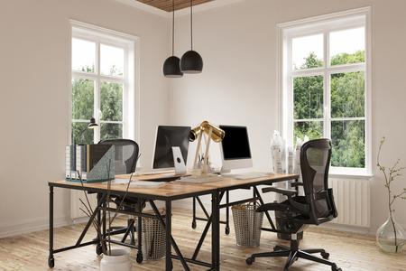 쓰레기통 및 실내 화분 용 화초 옆에 나무 바닥에 현대 책상과 의자의 쌍 코지 빈 홈 오피스 룸. 3D 렌더링.
