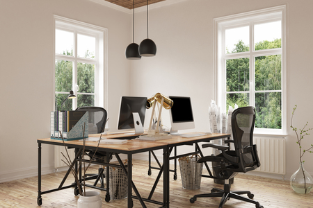 Cozy empty home office room with pair of contemporary desk and chairs on hardwood floor beside trash cans and houseplants. 3d Rendering.