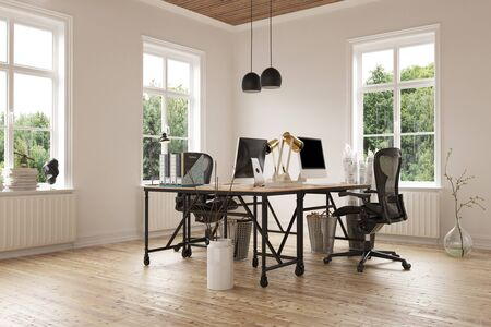 3D render of empty room with pair of contemporary desks covered with computers and chairs on hardwood floor. Includes glass planter and trash cans. 3d Rendering.