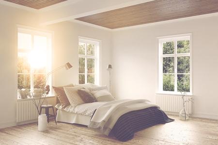 밝은 따뜻한 햇빛이 창문을 통해 더블 침대, 나무 마루 및 신선한 흰색 벽이있는 현대적인 침실 인테리어로 빛납니다. 3d 렌더링입니다. 스톡 콘텐츠