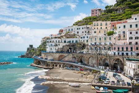 retained: Picturesque village of Atrani on the Amalfi Coast, Italy, a popular tourist destination that has retained much of its old culture
