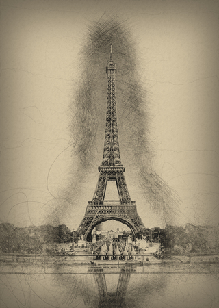 memento: Pencil Line Sketch of Historical Eiffel Tower with Shading and Reflection in Water Fountain on Aged Yellow Paper - Artistic Rendering of Eiffel Tower Landmark in Paris, France