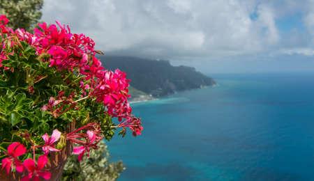 jardines con flores: geranios rojos coloridos en la costa de Amalfi, Italia, con el fin de Ravello, Campania de la costa y el mar tranquilo