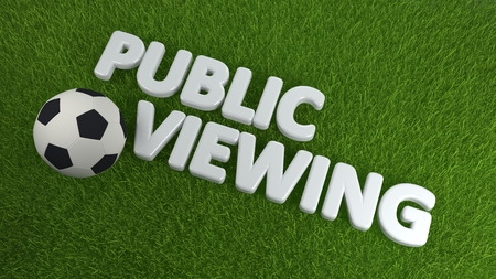high angle view: High Angle View of Soccer Ball on Fresh Green Grass with the Words Public Viewing in Soccer Sports Concept Image