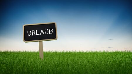 summer sign: Handwritten German sign - Urlaub (Vacation) - in a green grassy field advertising summer vacations and holidays in a conceptual image with a blue sky panoramic background and copy space