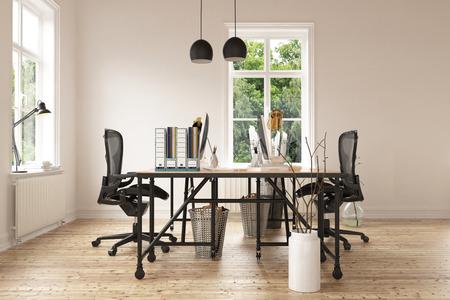 바닥을 경목 현대 책상과 의자 한 쌍의 빈 미니멀 홈 오피스 룸의 3D 렌더링합니다. 창틀에 조정 가능한 램프입니다. 3D 렌더링.