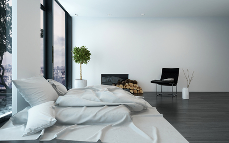 unmade: Spacious modern bedroom with sparse furnishings and unmade bed besides floor to ceiling windows. 3d Rendering.