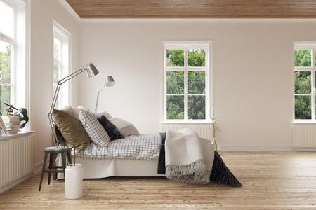 Nowoczesne lekkie przewiewne sypialni inter z oknami na wszystkie strony i wygodnym tapczanem stylu łóżku ze stylowym brązowym płótno na drewnianej podłodze światła. 3d rendering.
