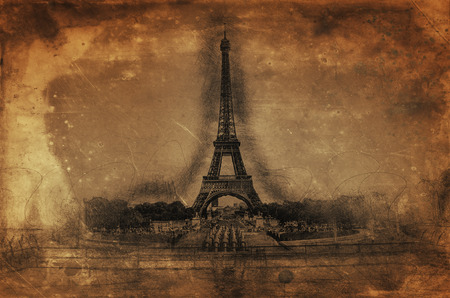 memento: Artistic Rendering of Eiffel Tower on Sepia Aged Paper in Line Drawing Style with Copy Space, Paris, France Stock Photo
