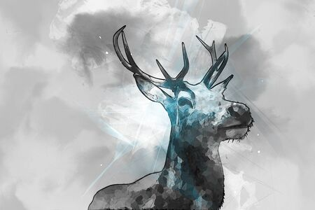 ruminant: Hand drawn watercolor painting of a buck with branched antlers and a dark outline, low angle view of the head and shoulders against grey washed clouds