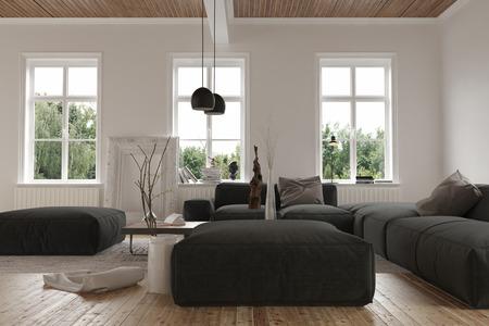 3 裸木の床と 2 番目の物語レベルで空の部屋で大きな黒いソファの背後にある windows の。3 d レンダリング。
