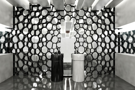 interior wall: Wall mirror covered in honeycomb decor in luxury modern bathroom with one black and one white sink. 3d Rendering.