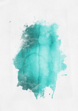 water color: Green watercolor paint banner with random brushstrokes as a central band over textured white paper with copy space for a design template Stock Photo