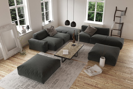 High Angle View On Empty Contemporary Living Room With Large Square Modular  Sofa With Casement Windows