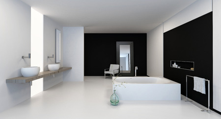 fittings: Large spacious black and white bathroom interior with modern fittings and a dual vanity, 3d, render