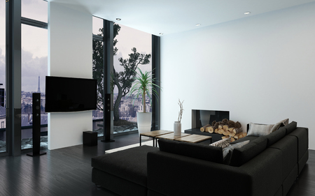 condo: Luxury condo with contemporary couch and bare wall with fireplace by woodpile and floor to ceiling windows. 3d Rendering.